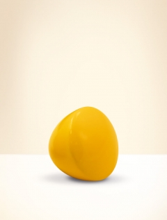 Knob, beech wood, lacquered yellow
