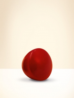 Knob, beech wood, lacquered red