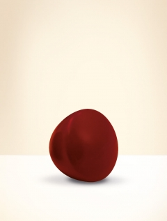 Knob, beech wood, lacquered wine red